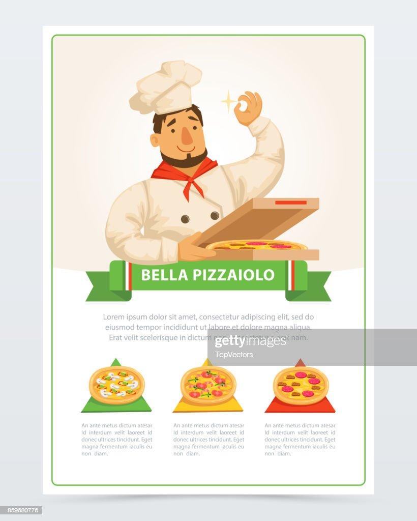 Cartoon character of italian pizzaiolo holding pizza in box