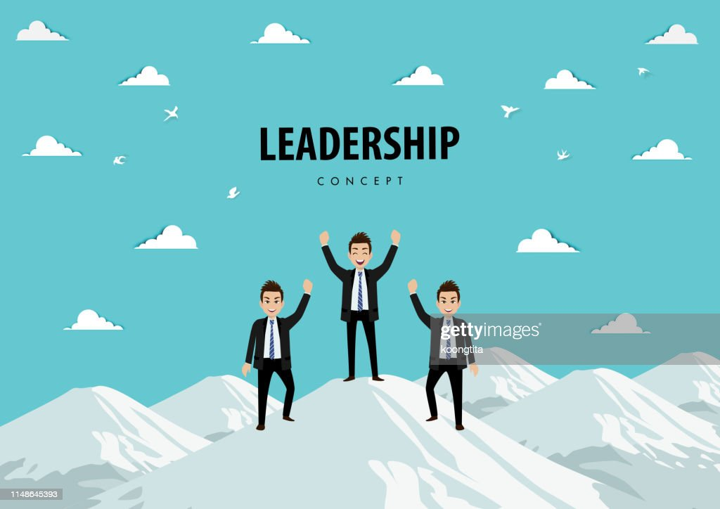 Cartoon character of the team on the mountain. Leadership Concept Vector