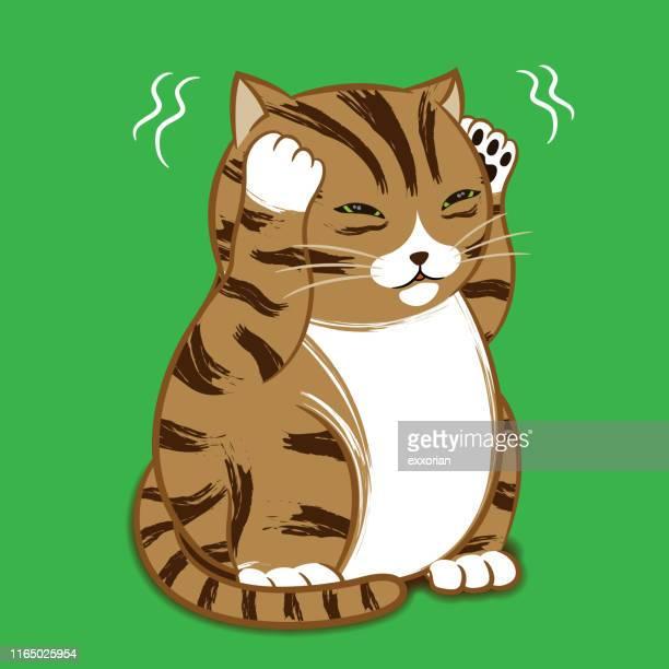 漫画のキャラクター - 残念な猫 - 掻く点のイラスト素材/クリップアート素材/マンガ素材/アイコン素材