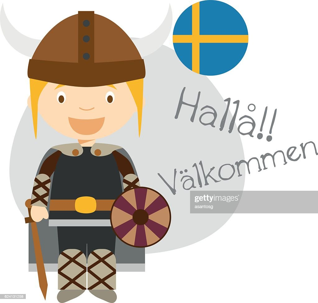 Cartoon character saying hello and welcome in Swedish