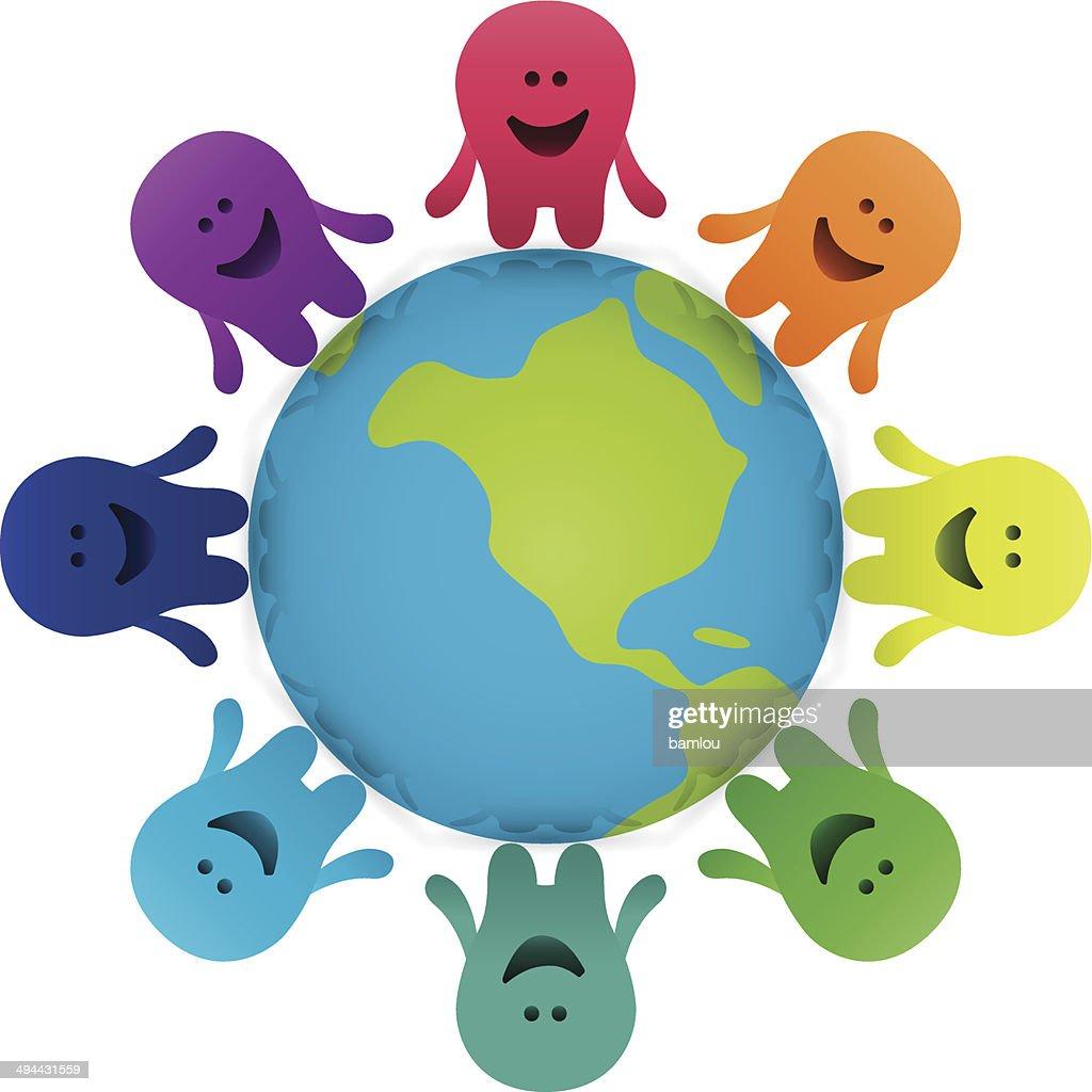 Cartoon Characters Holding Hands : Cartoon characters holding hands around the earth vector