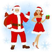 Cartoon  characters of Santa Claus with beautiful girl