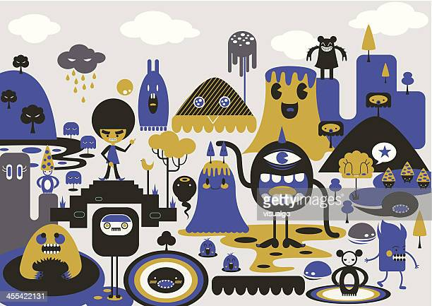 ilustraciones, imágenes clip art, dibujos animados e iconos de stock de personajes de dibujos animados - monstruo