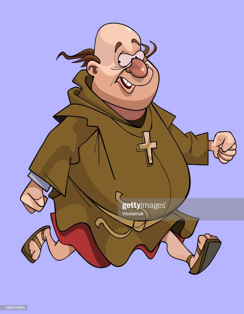 cartoon cheerful man in a catholic monks cassock running