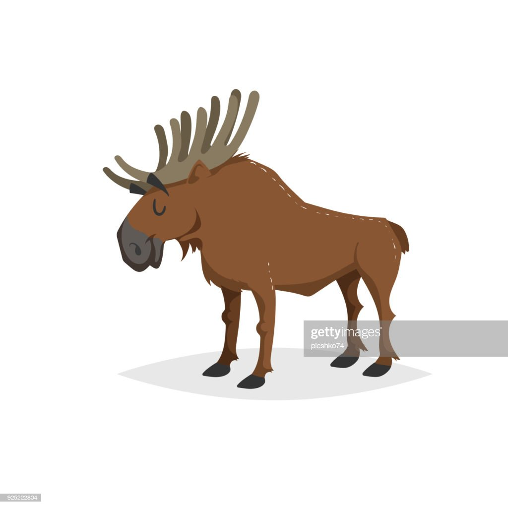 Cartoon cheerful standing moose. Forest Europe and North America animal. Flat with simple gradients trendy design. Education vector illustration.