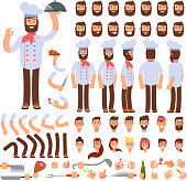Cartoon chef animated vector creation character. Professional male cook