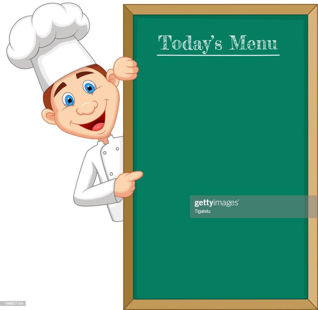 Cartoon chef cloche pointing at menu board