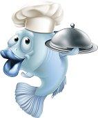 Cartoon chef fish and cloche
