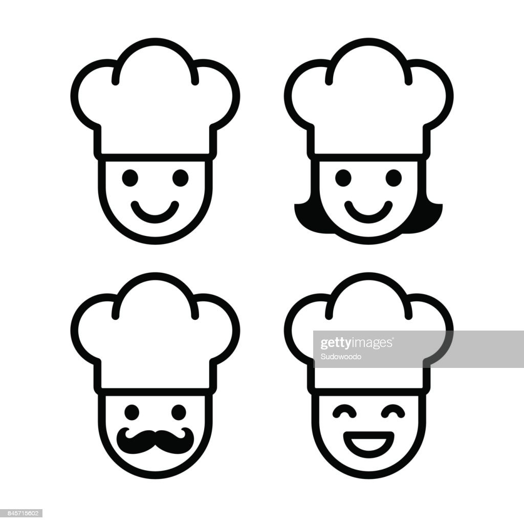 Cartoon chef icon set