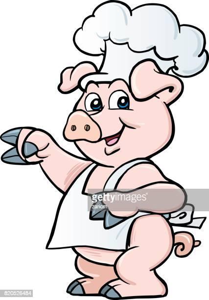 カットイラスト、シェフの豚