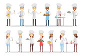 Cartoon chefs set.