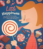 Cartoon child licking giant swirl lollipop with other candy