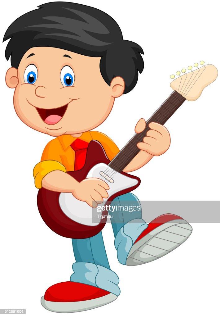 Cartoon child play guitar