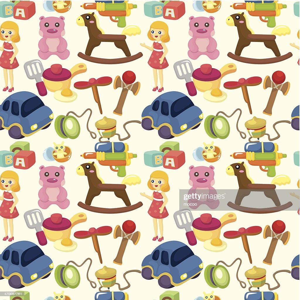 cartoon child toy seamless pattern