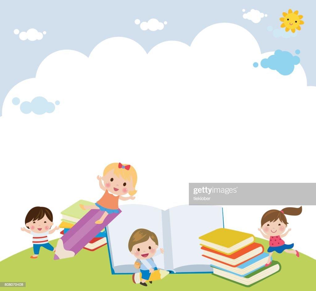 Cartoon children and books