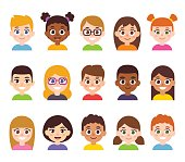 Cartoon children avatar set