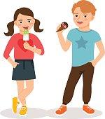 Cartoon children eating ice cream