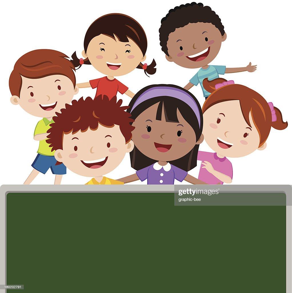 Cartoon children having fun in the classroom