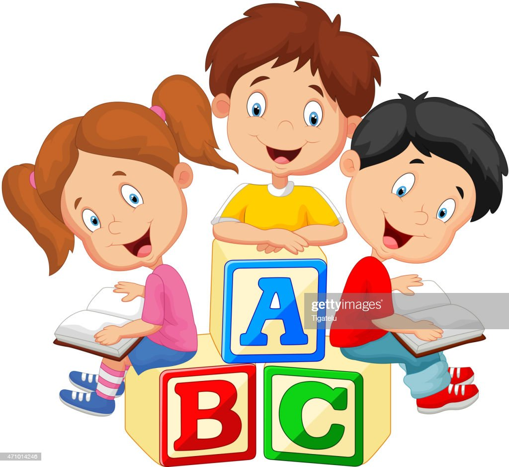 Cartoon children sitting on alphabet blocks and reading