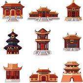 cartoon Chinese house icons set