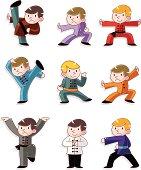 cartoon Chinese kung fu people
