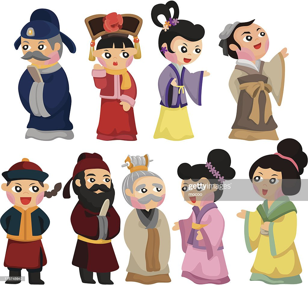 cartoon Chinese people icon set