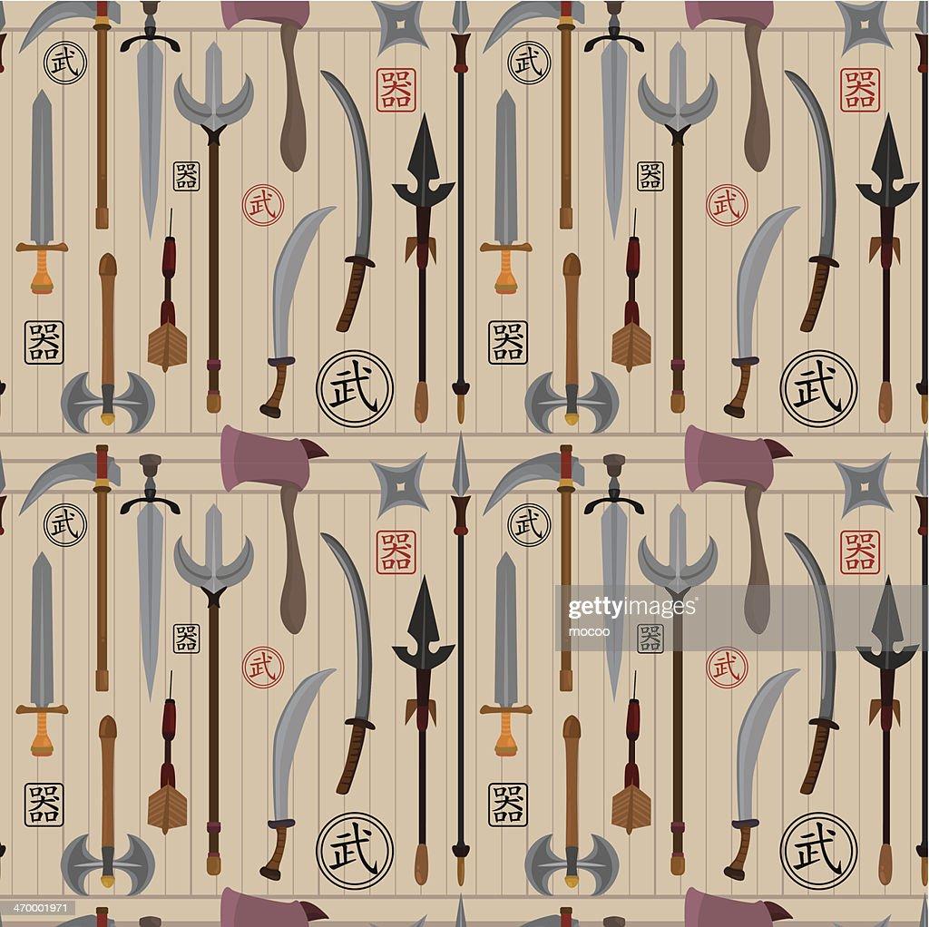 cartoon Chinese weapon seamless pattern