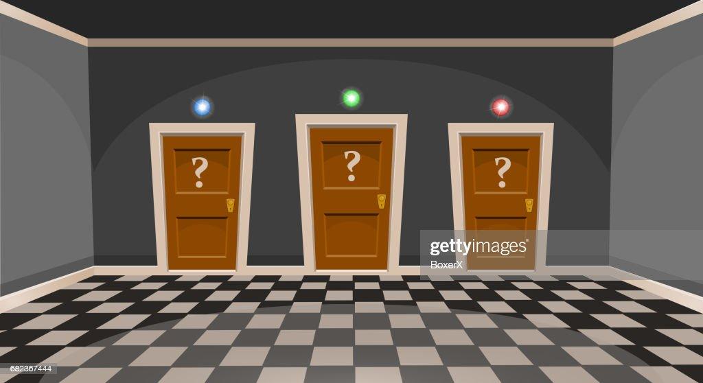 Cartoon Choose A Door Concept Empty Room With Three Door In Grey Style Vector Illustration High Res Vector Graphic Getty Images