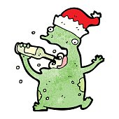 cartoon christmas party frog