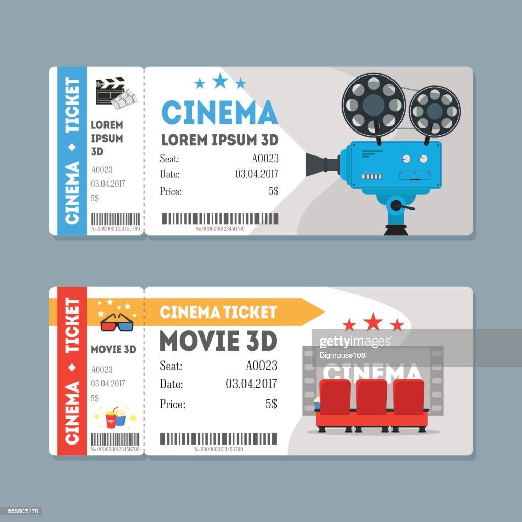 Cartoon Cinema Tickets Big Set. Vector