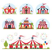 cartoon circus tent with stripes and flags isolated.  Ideal for