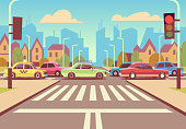 Cartoon city crossroads with cars in traffic jam, sidewalk, crosswalk and urban landscape vector illustration