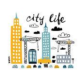 Cartoon city print. Childish vector illustration with car, skyscraper, buildings, builders crane. Great for kids apparel, nursery print,decoration
