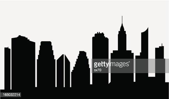 Cartoon City Skyline Black Silhouette White Background ...