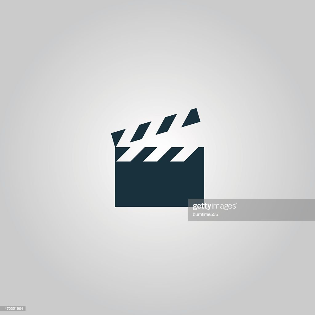 A cartoon clapboard with the top up on a gray background