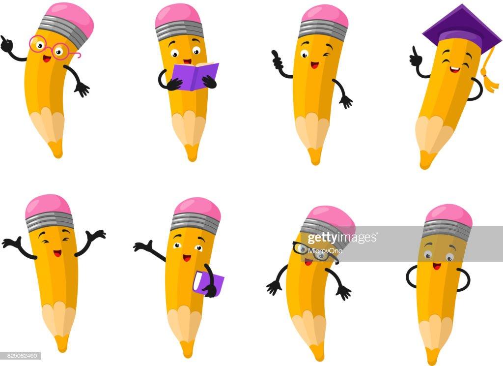 Cartoon clever pencil character vector set