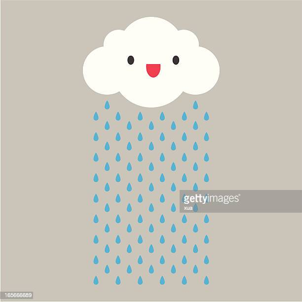 A cartoon cloud raining with face
