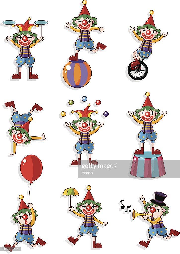 cartoon clown icon set