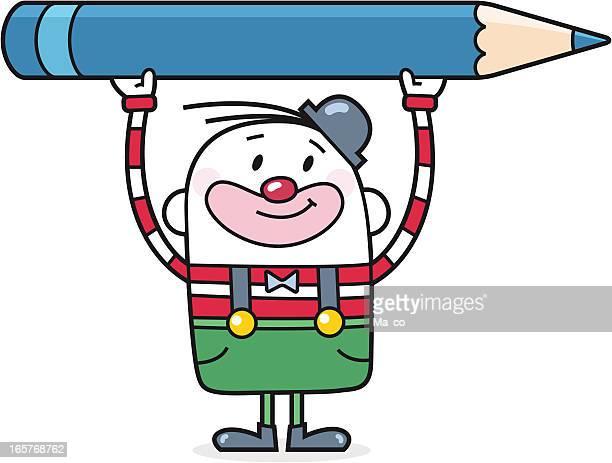 ilustraciones, imágenes clip art, dibujos animados e iconos de stock de payaso de la historieta con un lápiz de colores - edificio de escuela primaria