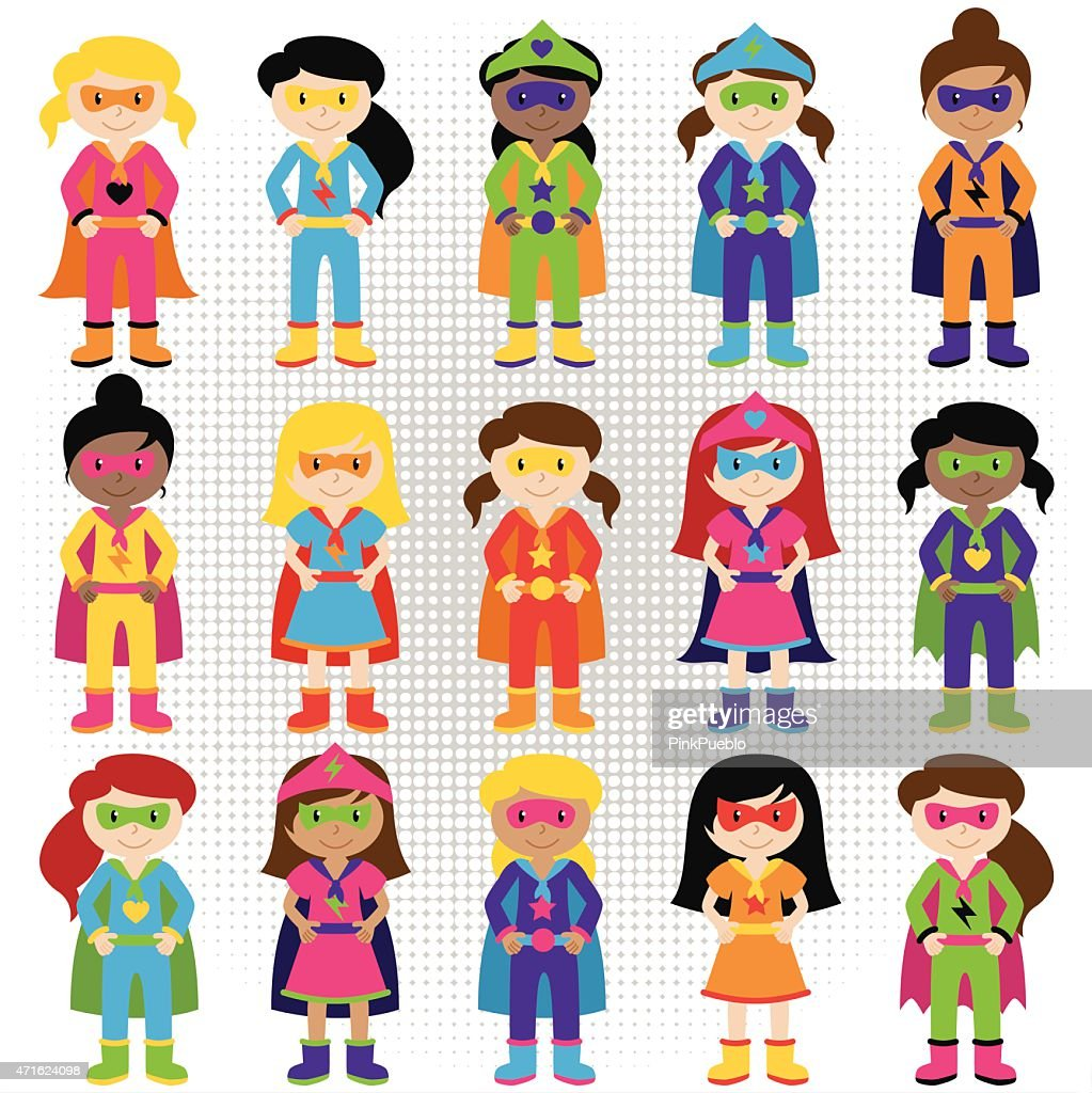Cartoon collection of kids dressed up as superheroes