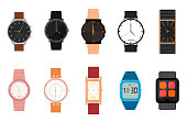 Cartoon Color Different Watches Icon Set. Vector