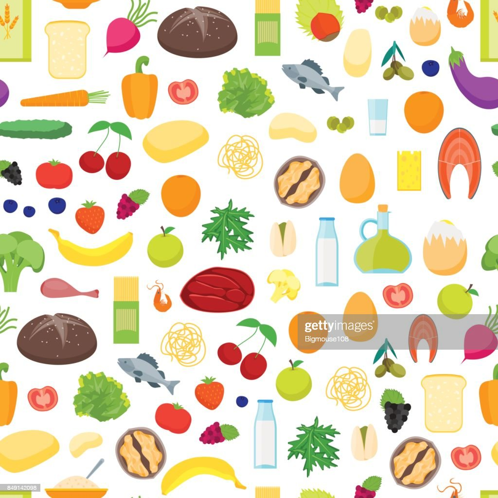 Cartoon Color Healthy Food Background Pattern On A White