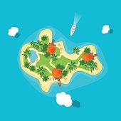 Cartoon Color Island in Ocean. Vector