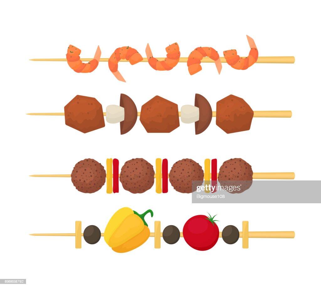 Cartoon Color Kebab on Wooden Skewers Set. Vector