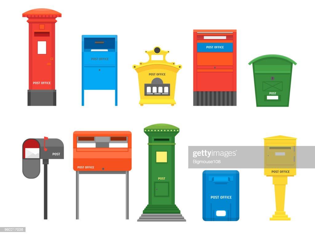 Cartoon Color Mail Box Set. Vector