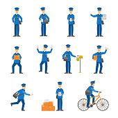 Cartoon Color Postman Male Characters Set. Vector