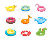 Cartoon Color Swimming Ring Toy Set. Vector