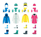 Cartoon Color Winter Clothes Icon Set. Vector