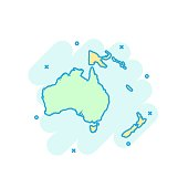Cartoon colored Australia and Oceania map icon in comic style. Australia and Oceania sign illustration pictogram. Country geography splash business concept.