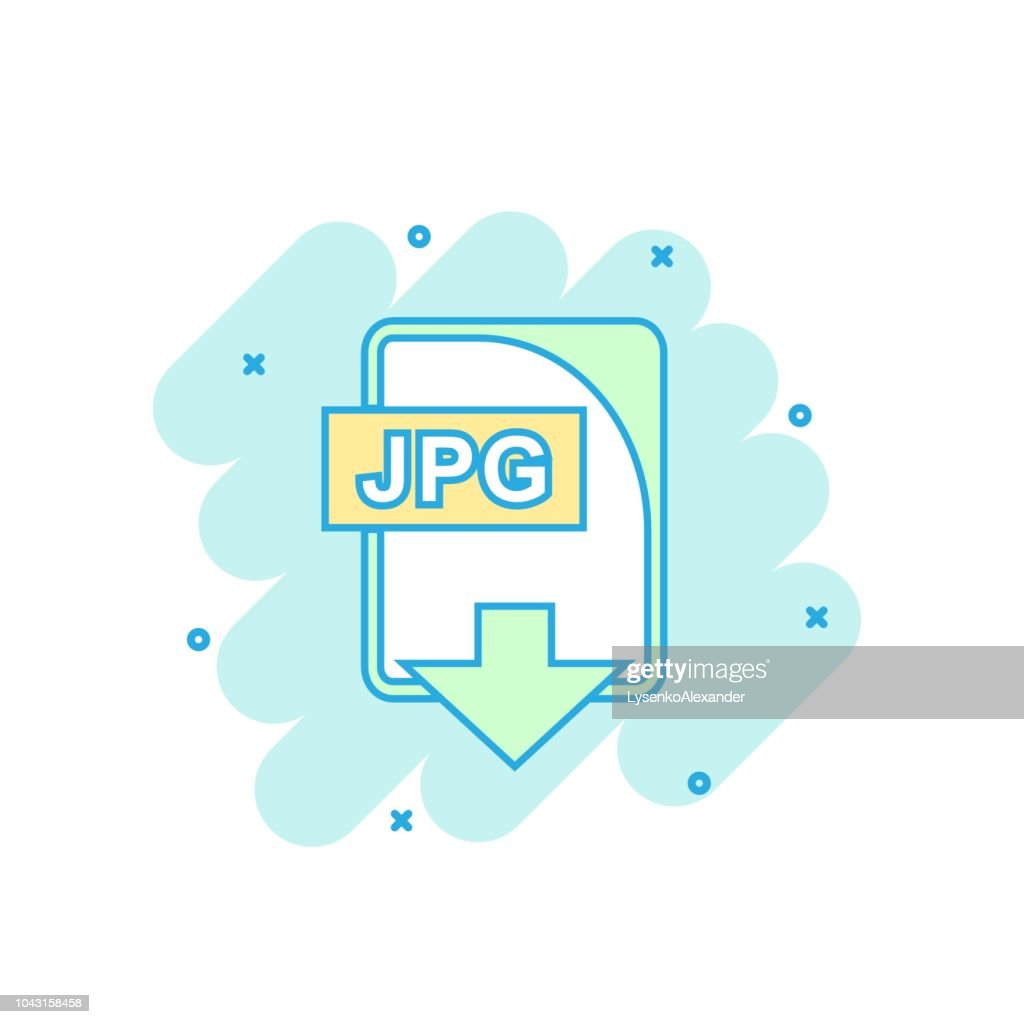 Cartoon colored JPG file icon in comic style. Jpg download illustration pictogram. Document splash business concept.